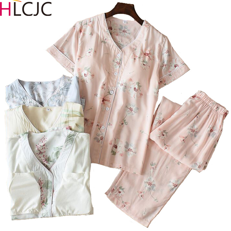 Summer Print Womens Pajama Set Short Sleeve Long P
