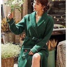 100% cotton mezzanine Fleece Robe Autumn Winter Warm Sleepwear Women Men Thicken Bathrobe L