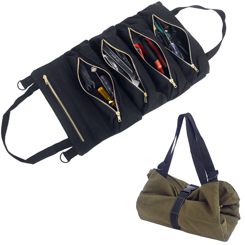 Multi-function Tool Box Bag Reel Type Woodworking Electrician Repair Canvas Portable Storage Outdoor Car Bag Instrument Case