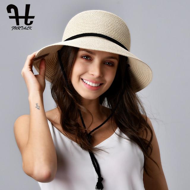 FURTALK kapelusz na lato dla kobiet słomkowy kapelusz kapelusz przeciwsłoneczny na plażę kobiece szerokie rondo UPF 50 + ochrona przed słońcem kapelusze wiadro czapka z wiatrem smycz