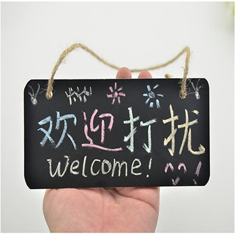 1 Pair Mini Shop Sign Board Chalk Board Wedding Party Home Daily Wooden Hanging Slate Creative Message Board Door Panel