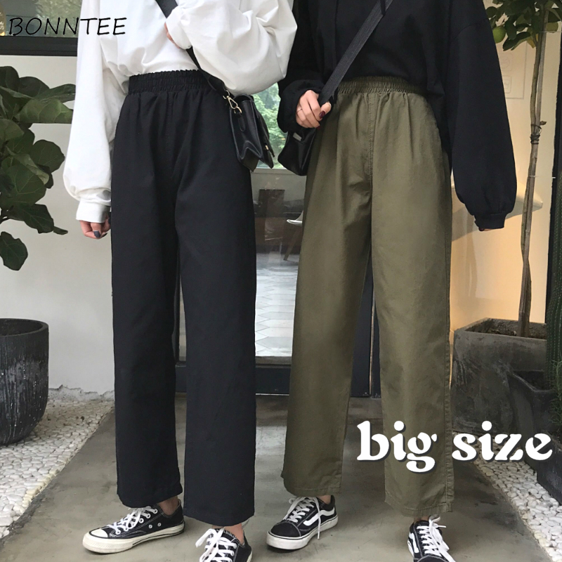 Casual Pants Women New Summer Fashion Pure Black Korean All-match High Elastic Waist Female Trousers Harajuku Oversized Pant 4XL