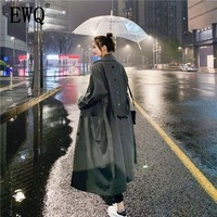 [EWQ] Fashion Windbreaker Female Korean Style 2020 New Spring Autumn Trench Coat For Women Solid Color Women Clothing AG420