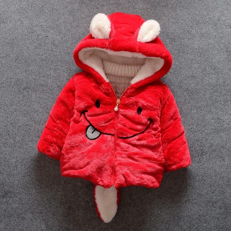 Baby girl winter coat girl rabbit ears hooded coat wool sweater cartoon smiling face plus velvet thick warm plush coat baby coat 2