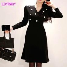 2019 autumn and winter new Korean temperament Slim V-neck waist three-dimensional high-end beaded fashion dress