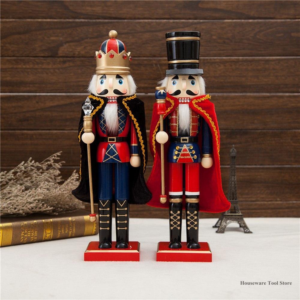 38CM Wood Christmas Nutcracker Large Puppet Wooden Handmade Crafts Home Shop Desktop Ornament Decoration Birthday Gift