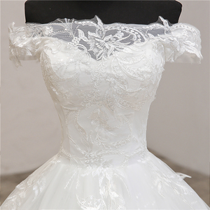 Image 5 - החדש Robe דה Mariee גרנדה Taille חתונת שמלת תחרת סירת צוואר כבוי כתף כדור שמלת נסיכה בתוספת גודל בציר כלות 7