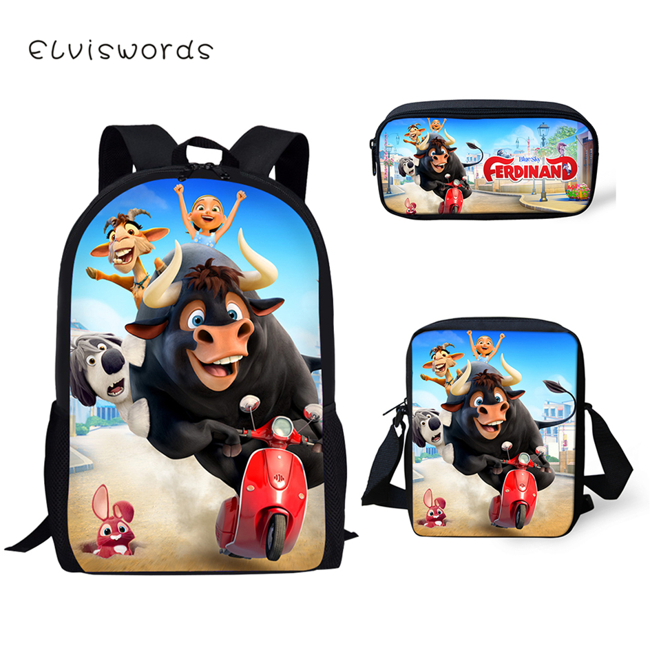 ELVISWORDS Fashion Kids Backpack 3PCs Set Ferdinand Pattern School Book Bags Kawaii Animal Students Backpack/Flaps Bags/Pen Bags
