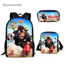 ELVISWORDS Fashion Kids Backpack 3PCs Set Ferdinand Pattern School Book Bags Kawaii Animal Students Backpack/Flaps Bags/Pen