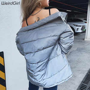 Image 5 - winter 2019 coat women fashion Reflective Cotton padded jacket zipper fly pockets femme casual thick warm clothes