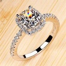 여성을위한 925 스털링 실버 FL 다이아몬드 반지 2 캐럿 클로 다이아몬드 보석 Bizuteria 약혼 고체 S925 보석 반지