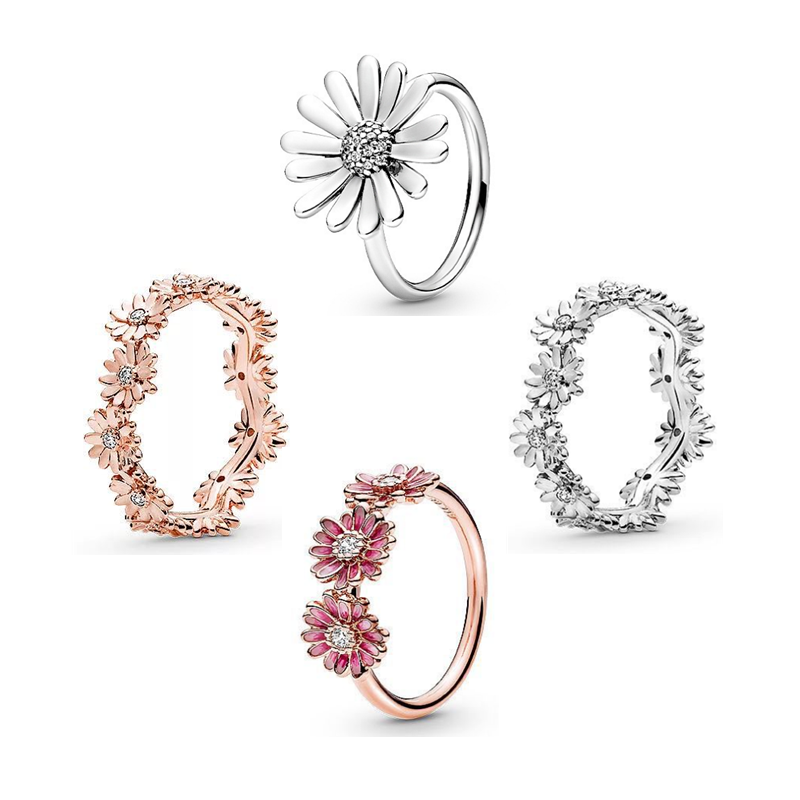2020 Newest Authentic 925 Sterling Silver Rings Pave Crystal Daisy Flower Round Ring Women European Original DIY Fashion Jewelry