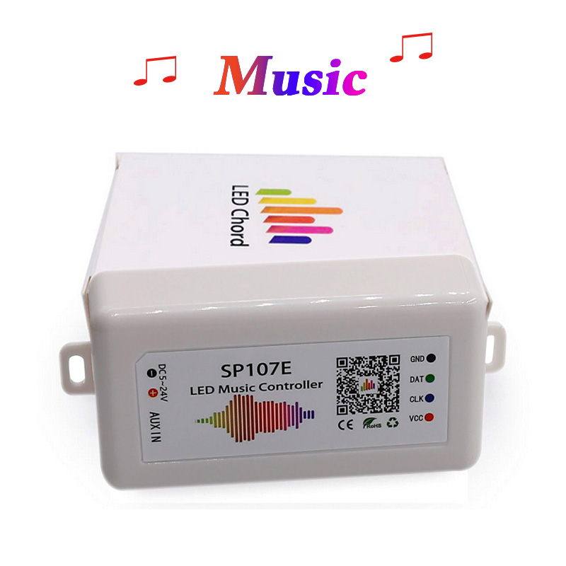 SP107E Music Bluetooth LED Controller full color RGB SPI Control by phone APP for 2812 2811 1903 LED Strip Light Tape, DC5V-24V image