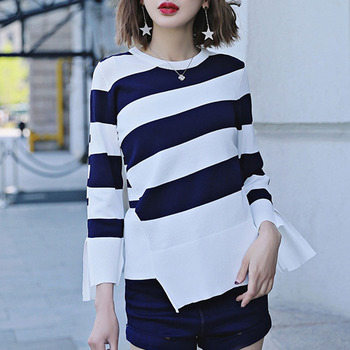 Irregular Hem Striped Sweater Women Split Sleeve O-neck Pullover Knitted Sweaters 2020 Autumn And Winter Casual Bottom Tops pullover frayed hem knitted top