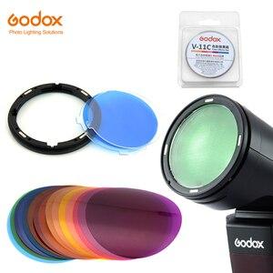 Image 1 - Godox AK R16 Magnetic Mount Diffuser Plate with V 11C V11C Color Effect Gel Set for Godox V1 Series Flash Light Speedlite