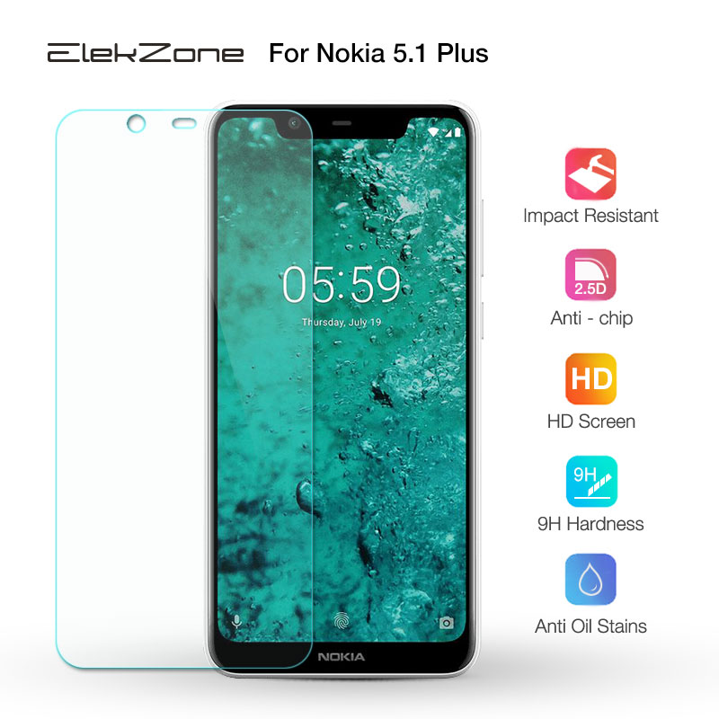 For Nokia 5.1 Plus 2.5D Tempered Glass Screen Protective Film Glass Protector For Nokia 5.1 + Plus HD 9H Glass Transparent GLASS