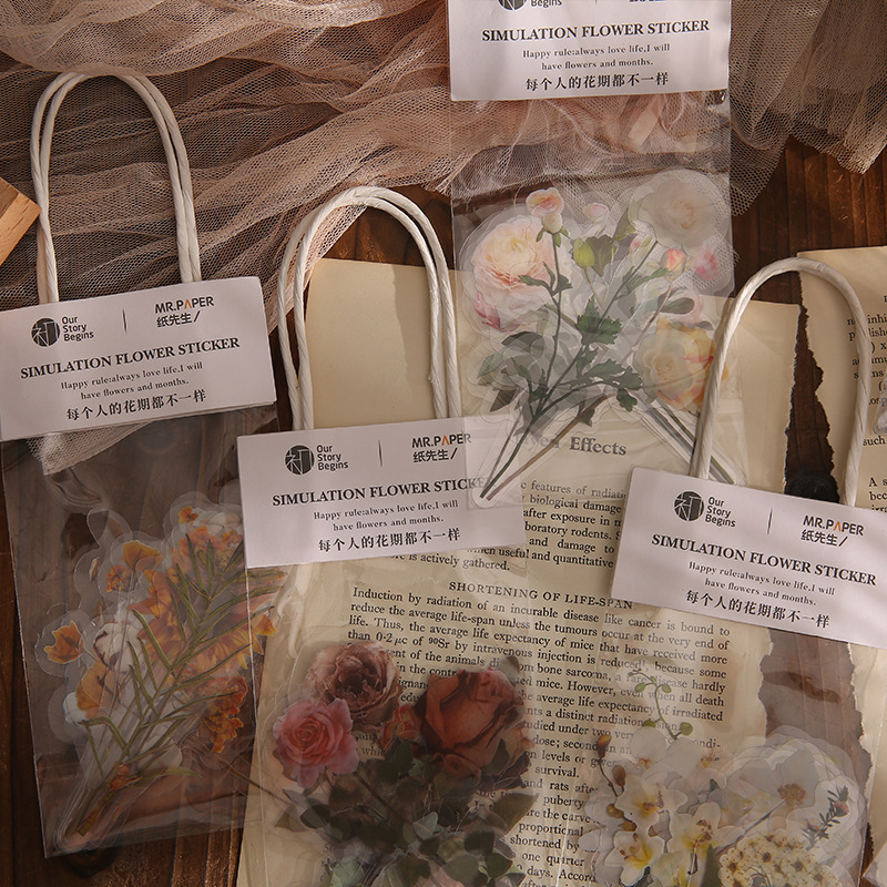 Mohamm 10 pçs no.7 flor casa série adesivos estilo ins decoração scrapbooking papel criativo material escolar
