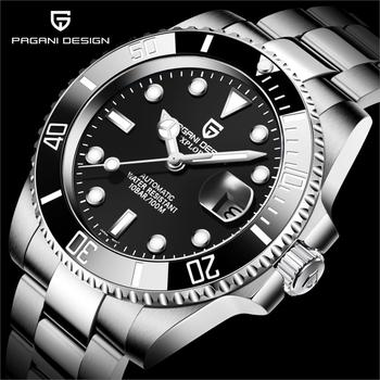 PAGANI DESIGN New Men Automatic Mechanical Sapphire Glass 40mm Wristwatch Stainless Steel Divers Watch Men Watches Reloj Hombre hot mens watch automatic mechanical watches gmt stainless steel blue red ceramic sapphire glass 40mm men watches wrist watches