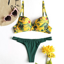 Sexy Ladies Jungle Print Tropical Beach Thong String Bikini Set Swimwear Women Bikinis Feminino 2019 Push Up Biquini Swimsuit
