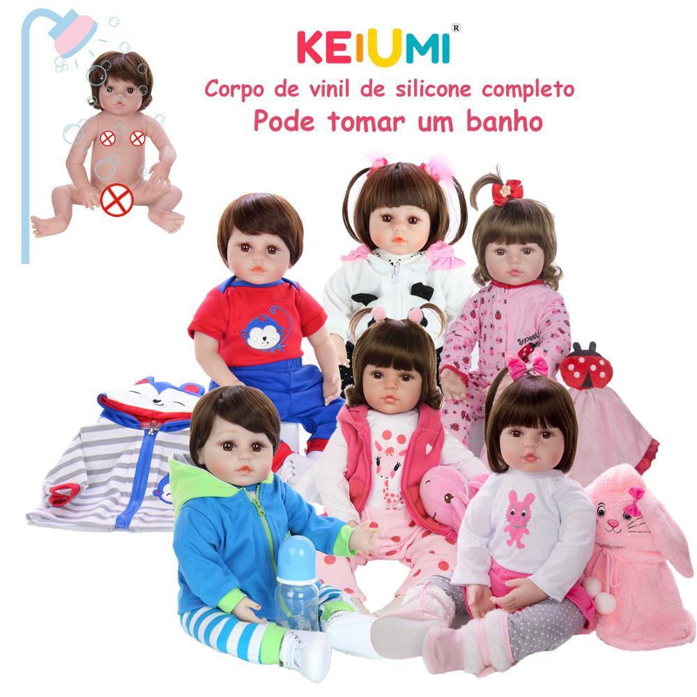 KEIUMI Wholesale Reborn Menina Menino Full Silicone Vinyl Reborn Baby Dolls Birthday Gifts Fashion Can Bath Baby Kids Playmate(China)