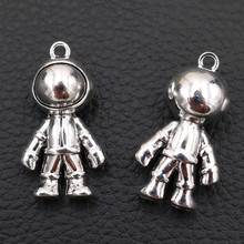 Fashion Interstellar Astronaut Metal Pendant Space Suit Charm UFO Exploration DIY 3D Antique Silver A66 4pcs