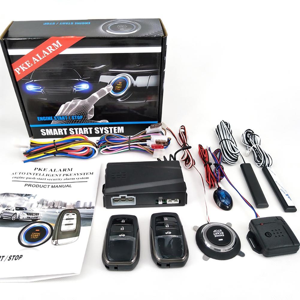 12v Car Alarm Remote Control Car Keyless Entry Engine Start Alarm System Push Button Remote Starter Stop Auto Anti Theft System Leather Bag