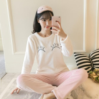 Oversize Nightwear Lovely Girl Pajamas Set Winter Flannel Sleepwear O Neck Shirt&Pants Home Wear