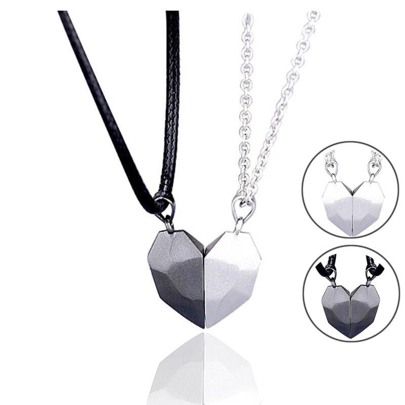 2 pçs magnético casal colar amantes coração pingente distância facetada charme colar feminino presente do dia dos namorados 2021|Corrente|   -