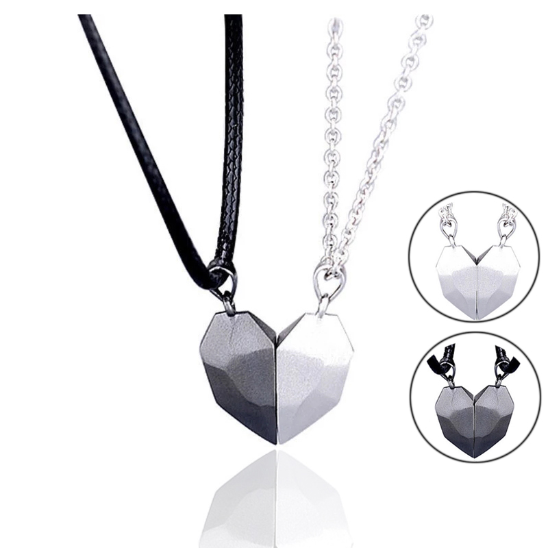 2Pcs Magnetic Couple Lovers Heart Necklace