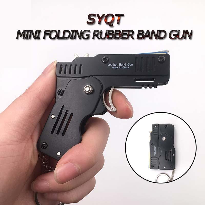 MINI Rubber Band Gun Foldable High Quality Outdoor Tools  Mini Rubber Band Gun Child Gift Toy Continuous Hair Toy Pistol