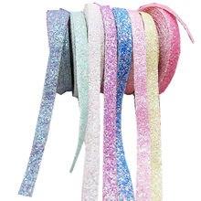 5 jardas/lote 1cm glitter edge-envolvente tiras para diy grampo de cabelo capa, acessórios de guarnição dobrável