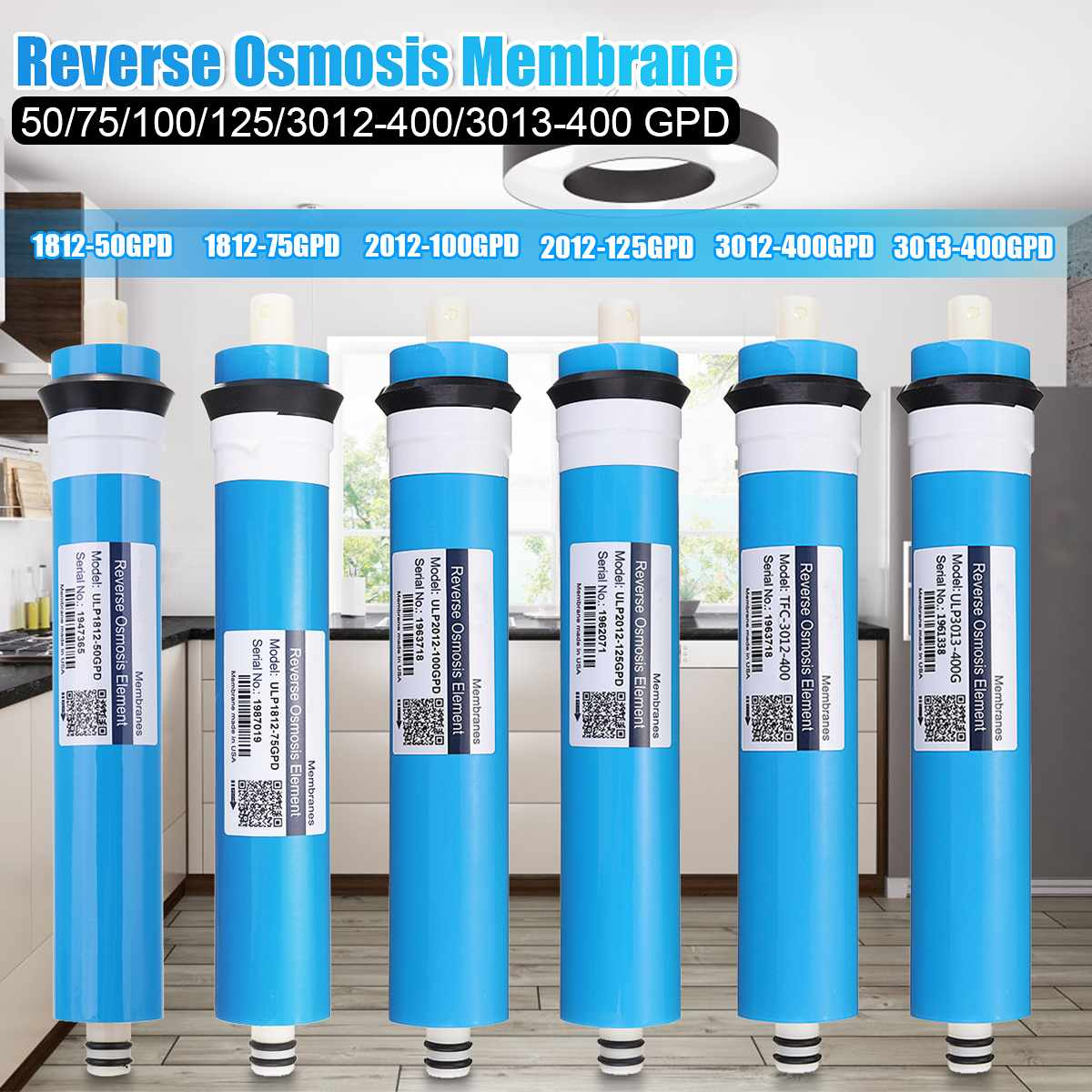 50/75/100/125/400GPD Reverse Osmosis RO Membrane Water Filter Replacement RO Water System Filter Water Drinking Purifier