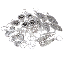 35 Pieces Hair Rings Braid Rings Hair Hoops Hair Loop Clips Pendant, Mixed