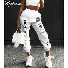 Rockmore Letter Print Sweatpants Baggy Pants Women Joggers Harajuku Wide Leg Pen