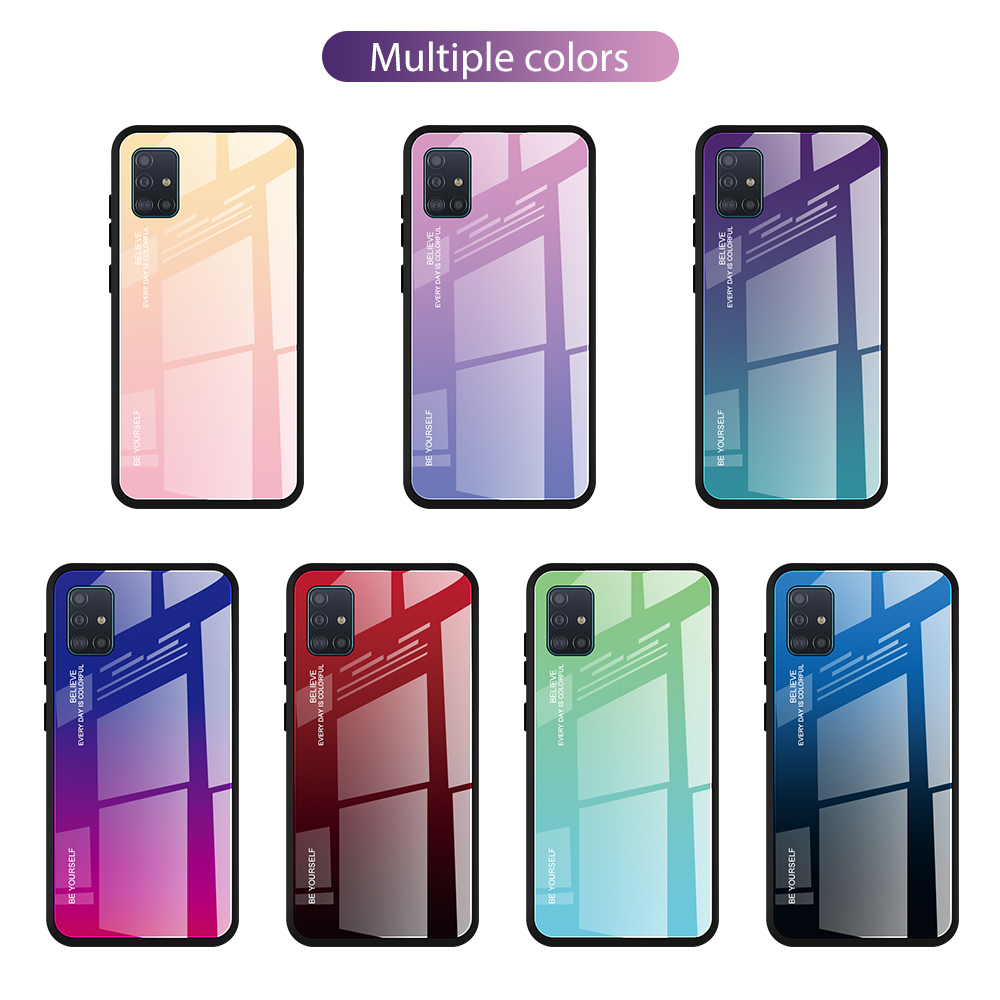 For Samsung A51 Case Color Tempered Glass Cases For Samsung Galaxy A51 A71 Gradient Bumper Cover For Samsung A51 A71 Phone Case