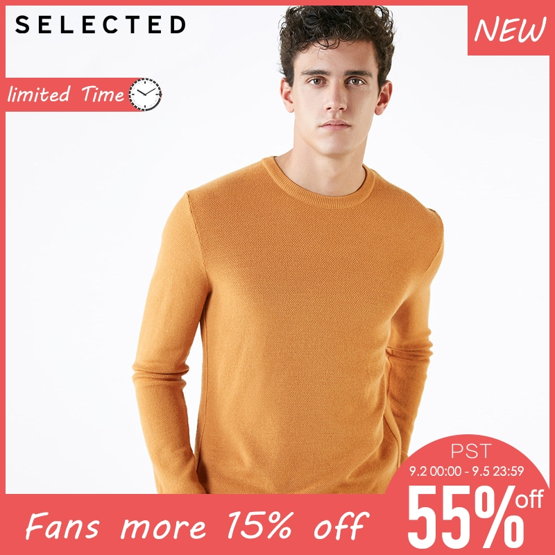 SELECTED  Mens 69% Wool Round Neck Pure Color Pullover Sweater | 418424508