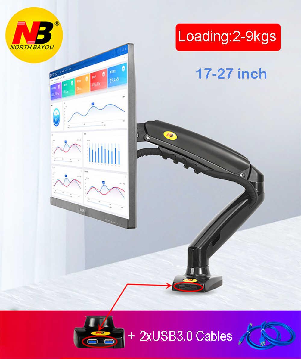 """2019 جديد NB F80 + 2XUSB3.0 سطح المكتب الغاز الربيع 17-27 """"LCD شاشة LED حامل جبل الذراع كامل الحركة عرض موقف تحميل 2-9 كلغ"""