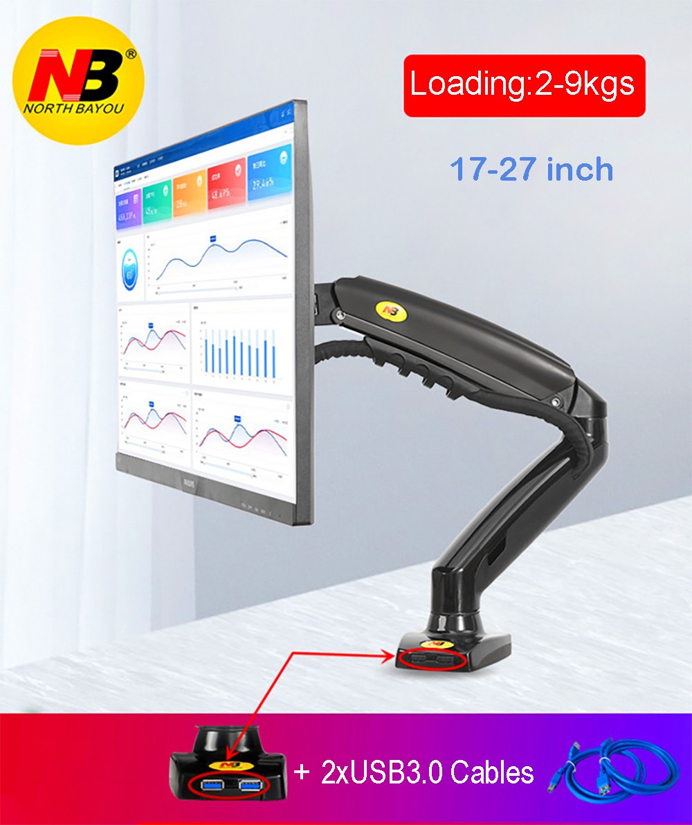 "2019 New NB F80 + 2XUSB3.0 Desktop Gas Spring 17-27"" LCD LED Monitor Holder Mount Arm Full Motion Display Stand Loading 2-9 Kgs"