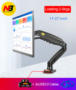 "2019 New NB F80 + 2XUSB3.0 Desktop Gas Spring 17-27"" LCD LED Monitor Holder Mount Arm Full Motion Display Stand Loading 2-9 kgs(China)"