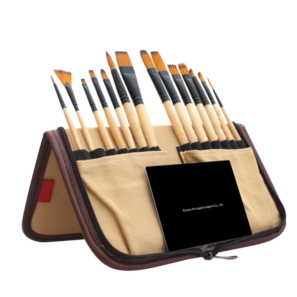 14PCS Students Reusable Art Learning Portable Tool School Paint Brush Set Canvas Bag Gouache Watercolor Gift Artist Folding