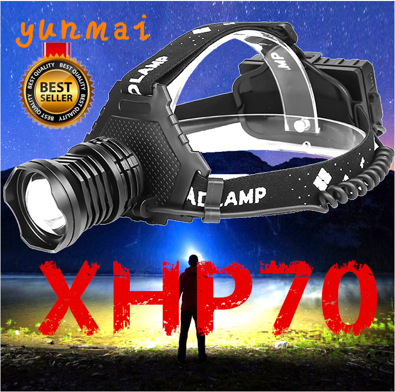Yunmai 2020 XHP70 Led Headlamp Headlight Most Powerful 32W 8000lm Head Lamp Zoom Power Bank 7800mAh 18650 Battery For Camping