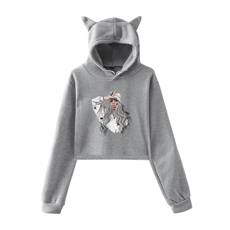 Womens Cat Ear Fleece Pullover Hoodie Billie Eilish