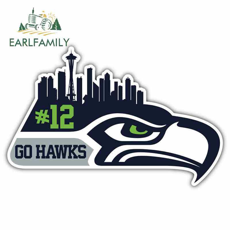 EARLFAMILY 13cm x 8.7cm for Seattle Seahawks Sport Sign Car Stickers Vinyl JDM Bumper Trunk Graphics Windshield Bumper Windows image