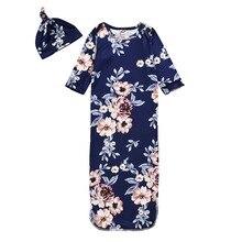 Осенне-зимние Цветочные Печатные ночные рубашки для новорожденных девочек комплект из 2 предметов, халат для сна и шапочка, одежда для сна для маленьких девочек