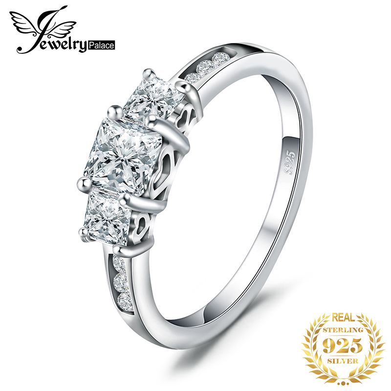 JPalace 3 Stone Princess Cut CZ Engagement Ring 925 Sterling Silver Rings For Women Anniversary Wedding Rings Silver 925 Jewelry