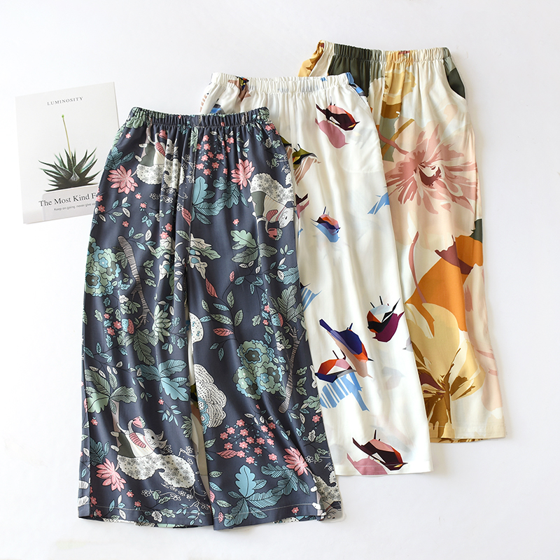 Summer Sleep Wear For Women Pajama Printing Night Pants Sleep Wear For Women Calf-Length Pants Viscose Lounge Sleep Bottoms
