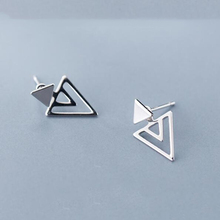 100% Real 925 Sterling Silver Earring Jewelry Women Fashion Triangles Stud Earring For Teen Girl Lady цена 2017