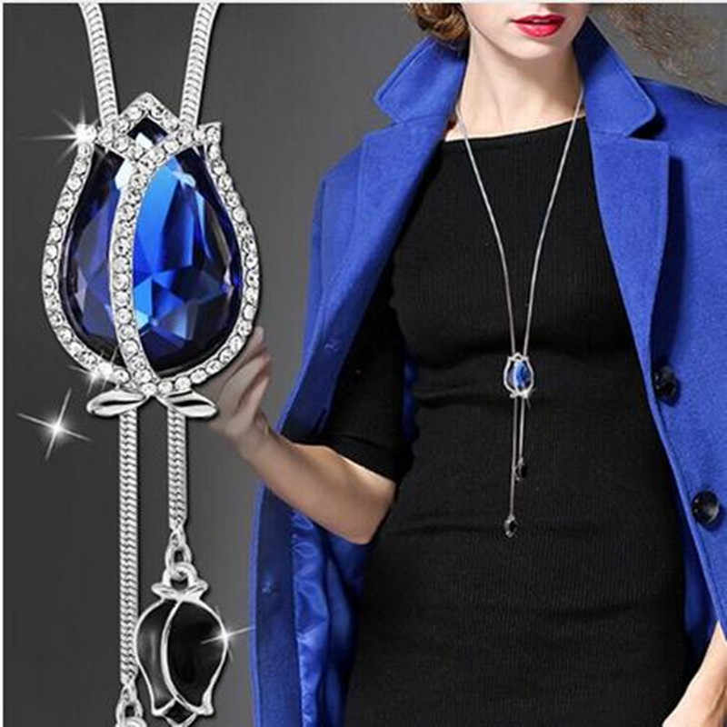 BYSPT Snowflake Long Necklace Fashion Crystal Flower Swan Tulip Pendant Necklaces Adjusted Sweater Chain