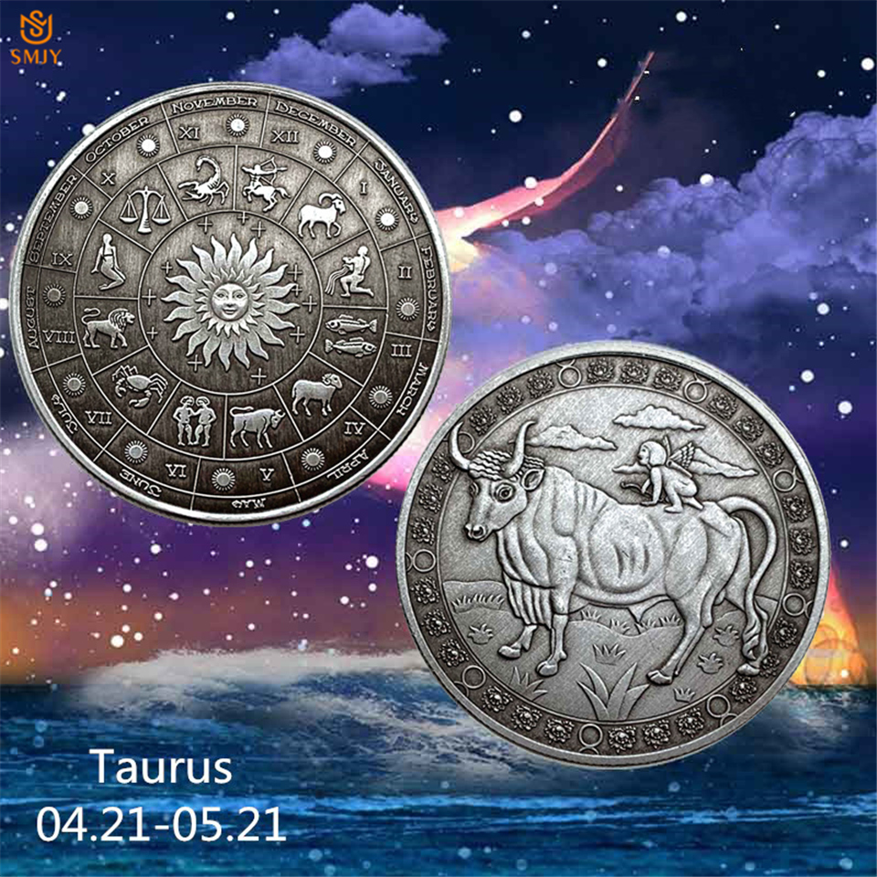 Moeda de desafio em bronze taurus constelação russa, moeda para alívio de constelação saturina e zodíaco russo, valor de coleção de moedas, animais, 2019