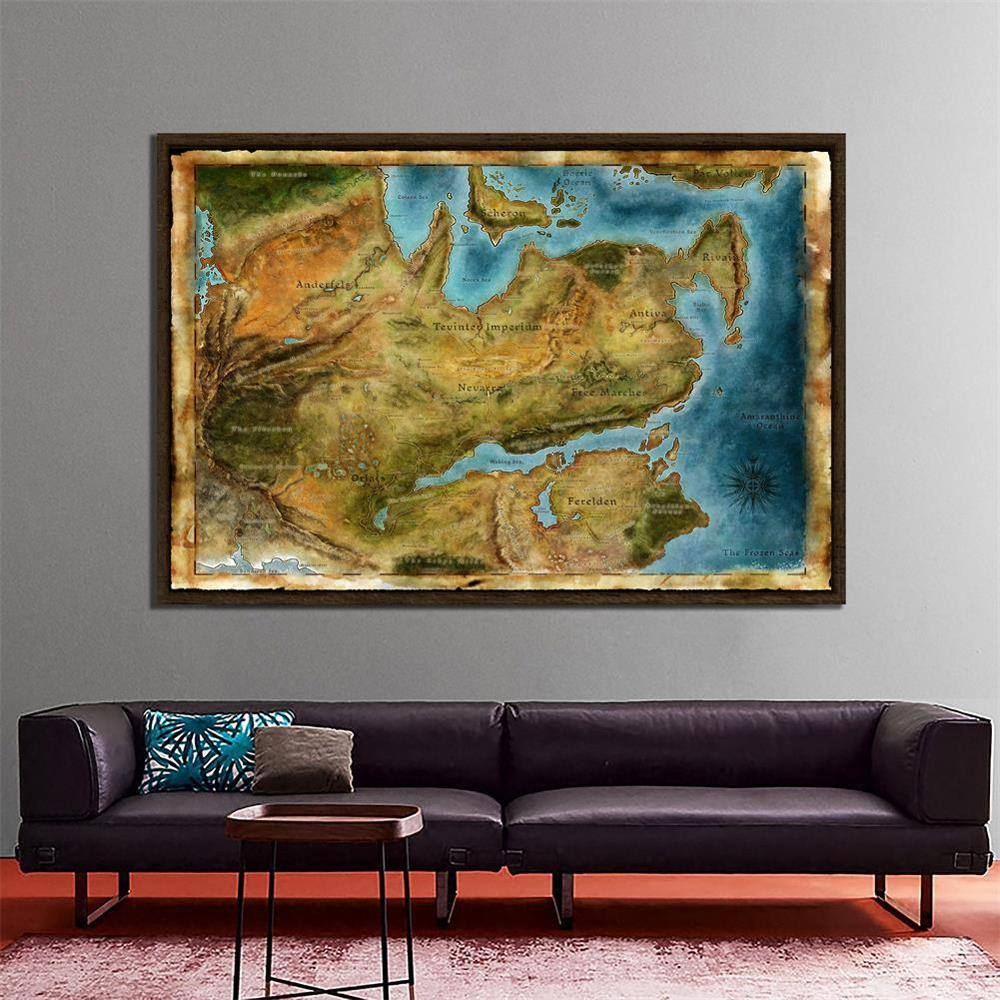 150x100cm Non-woven Map Of Dragon Age Classic Video Games Diagram Poster Art Silk Light Canvas Home Room Wall Printing Decor